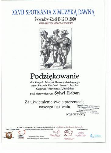 XXVII Spotkania z Muzyką Dawną - koncert w Świeradowie Zdroju - 11.09.2020 r.